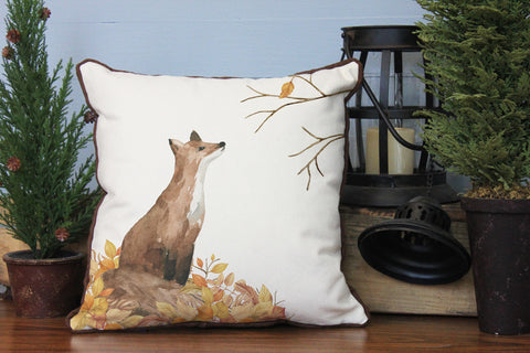 "Autumn Fox // 16""x16"" // Fall Season Accent Pillow with Insert"