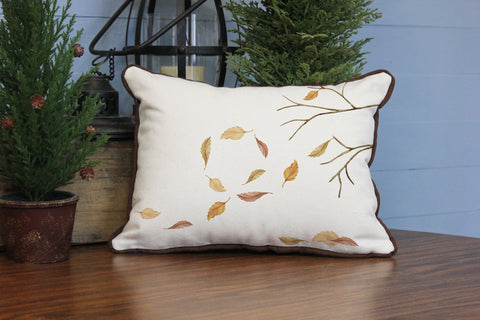 "Tree Leaves in the Wind // 12""x16"" // Fall Season Accent Pillow with Insert"