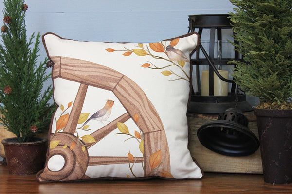 "Wagon Wheel Birds // 16""x16"" // Fall Season Accent Pillow with Insert"