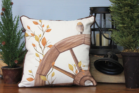 "Wagon Wheel Bird // 16""x16"" // Fall Season Accent Pillow with Insert"