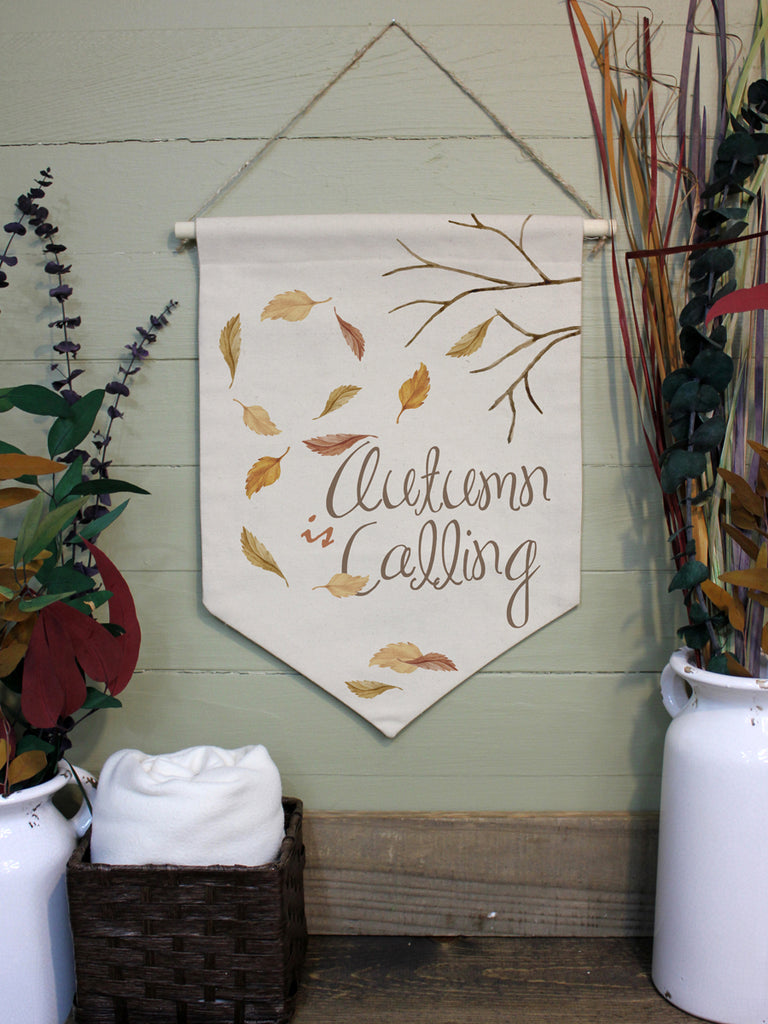 "Autumn is Calling // 12""x16"" // Canvas Banner Flag // Fall Season Decor"