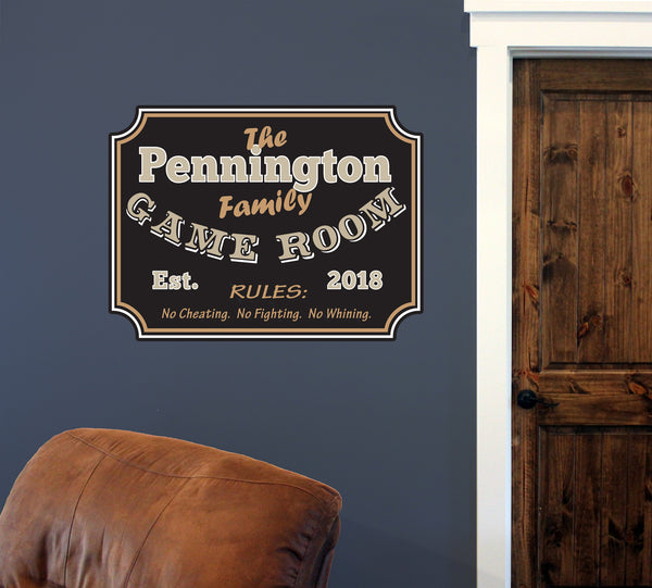 "Custom Family Game Room // 30"" x 40"" // Die Cut Wall Decal"