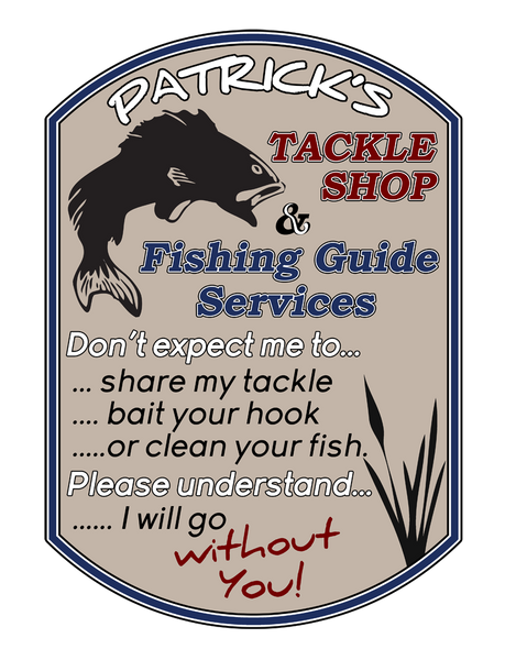 "Custom Fishing Tackle Shop // 30"" x 40"" // Die Cut Wall Decal"