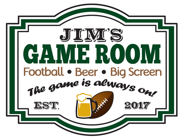 "Custom Football Game Room // 12"" x 16"" // Die Cut Wall Decal"