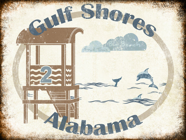 "Gulf Shores Alabama // Small Town Big Beach // 1 Aluminum Sign // Indoor or Outdoor // 12"" x 16"""
