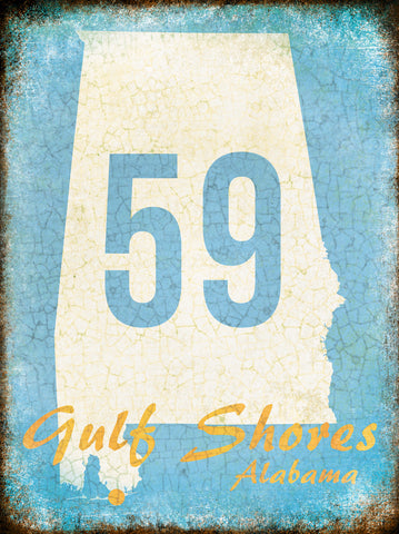"Gulf Shores Alabama // 1 Aluminum Sign // Indoor or Outdoor // 12"" x 16"""