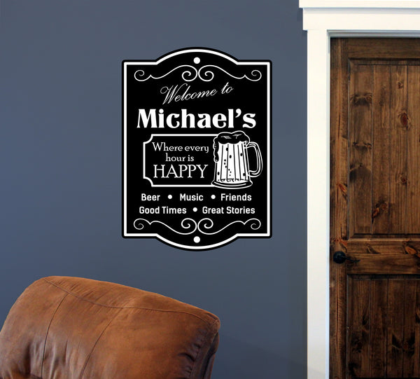 "Custom Beer Happy Hour // 18"" x 24"" // Die Cut Wall Decal"