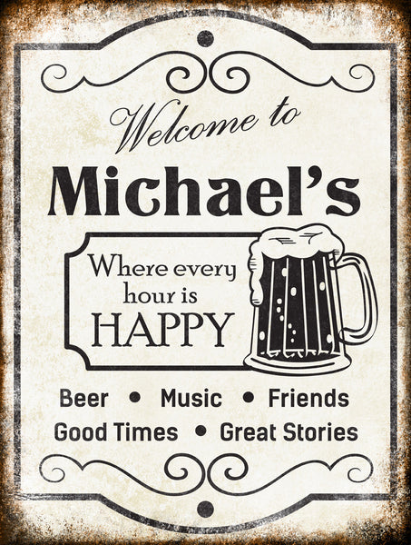 "Custom Beer Happy Hour // 1 Aluminum Sign // Indoor or Outdoor // 12"" x 16"""