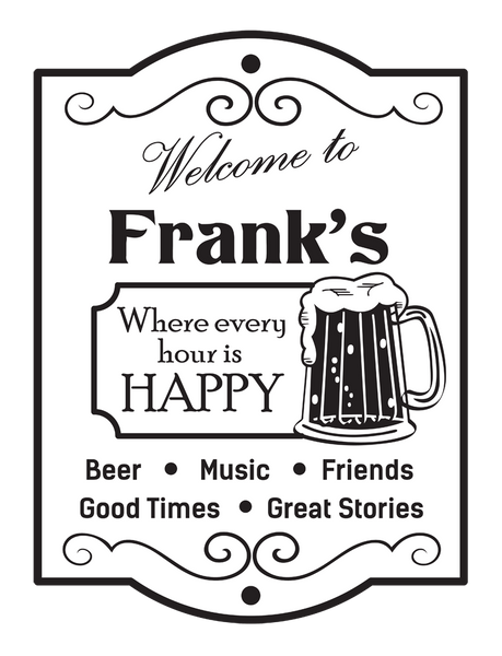 "Custom Beer Happy Hour // 24"" x 32"" // Die Cut Wall Decal"