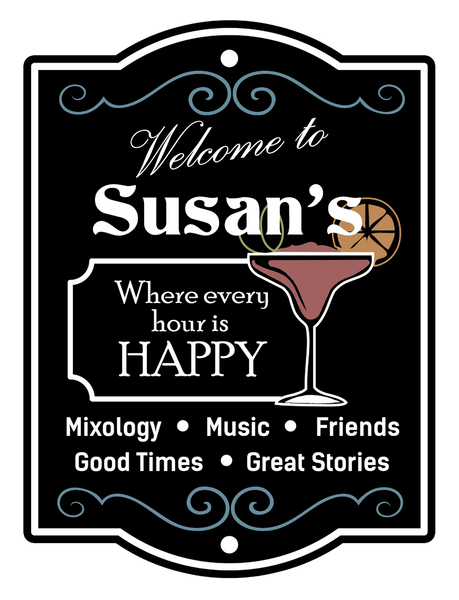"Custom Mixology Happy Hour // 24"" x 32"" // Die Cut Wall Decal"
