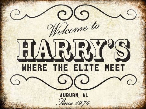 "Harry's // Auburn, Alabama // 1 Aluminum Sign // Indoor or Outdoor // 12"" x 16"""