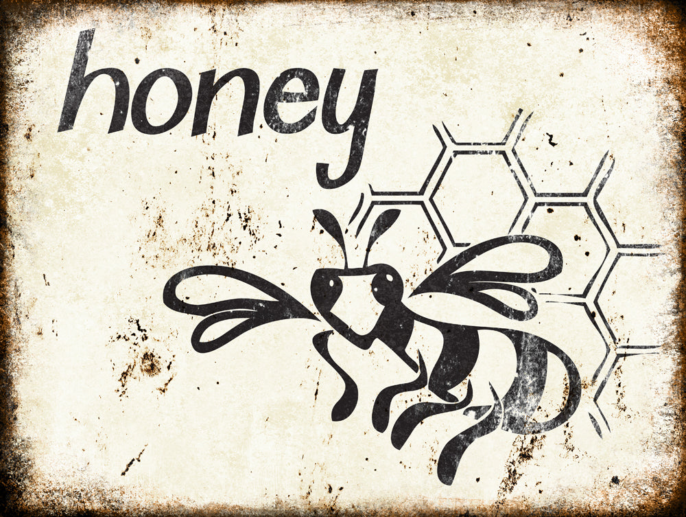 "Honey // Farm Fresh // 1 Aluminum Sign // Indoor or Outdoor // 12"" x 16"""