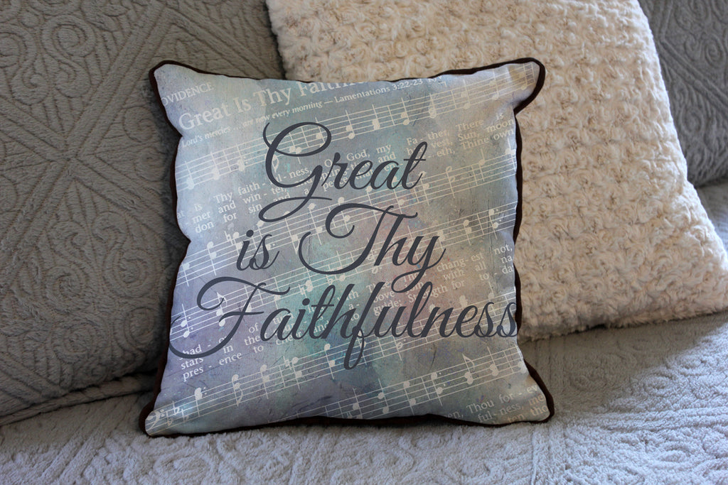 "Great is Thy Faithfulness // Traditional Hymn // 16""x16"" // Christian Accent Pillow with Insert"