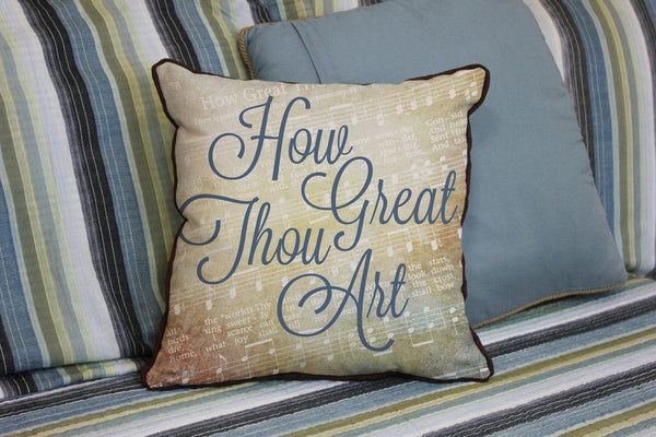 "How Great Thou Art // Traditional Hymn // 16""x16"" // Christian Accent Pillow with Insert"