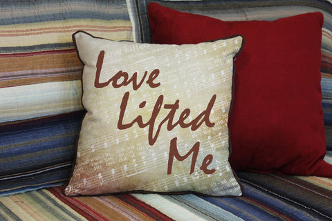 "Love Lifted Me // Traditional Hymn // 16""x16"" // Christian Accent Pillow with Insert"