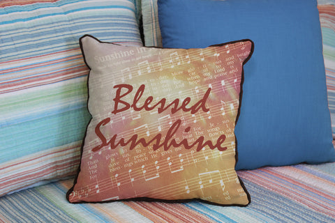 "Blessed Sunshine // Traditional Hymn // 16""x16"" // Christian Accent Pillow with Insert"