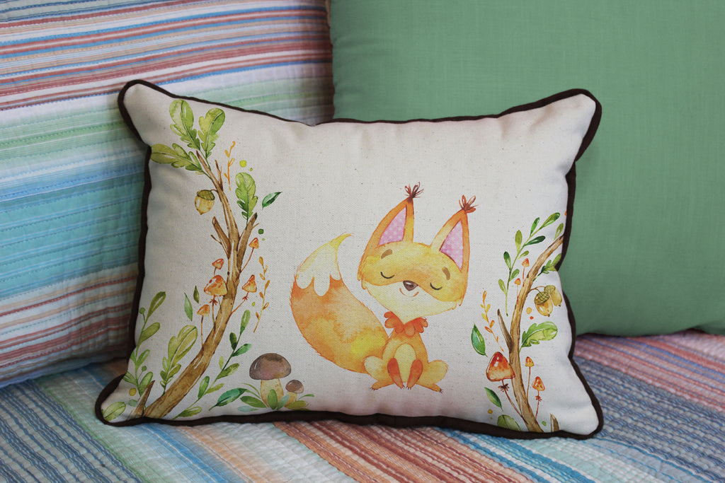 "Fancy Fun Fox // 12""x16"" // Children's Accent Pillow with Insert"