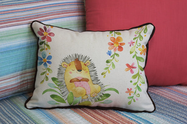 "Sleepy Headgehog // 12""x16"" // Children's Accent Pillow with Insert"
