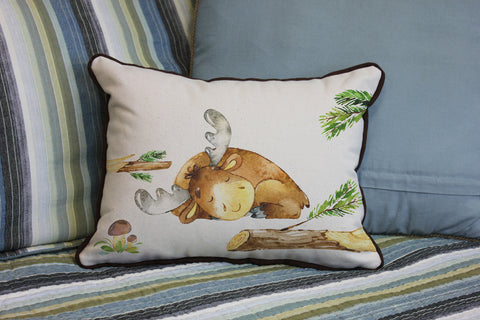 "Baby Moose // 12""x16"" // Children's Accent Pillow with Insert"