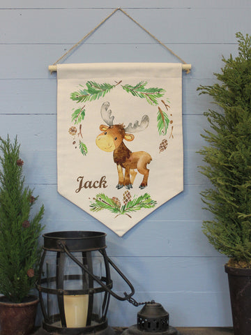 "Baby Moose Custom Name // 12""x16"" // Canvas Banner Flag // Children's Decor"