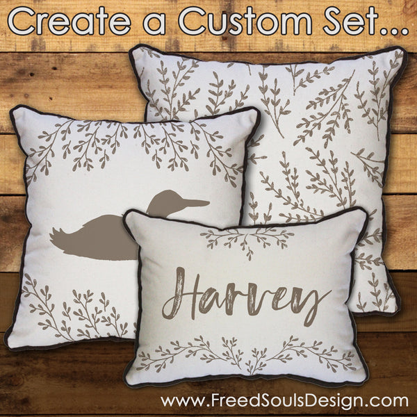 Custom Set with Name, Animal, and Leaf Pattern // 3 Pillows with Inserts