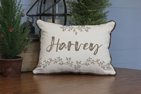 "Custom Name with Leaf Graphics // 12""x16"" // Accent Pillow with Insert"