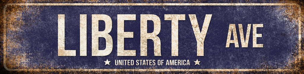 "Liberty Ave. // America - USA // 1 Aluminum Sign // Indoor or Outdoor // 5.5"" x 22"""