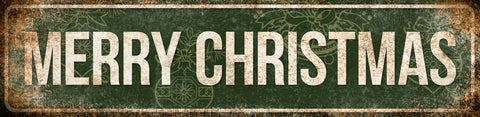 "Merry Christmas  // 1 Aluminum Sign // Indoor or Outdoor // 5.5"" x 22"""