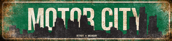 "Motor City  // Detroit, Michigan //1 Aluminum Sign // Indoor or Outdoor // 5.5"" x 22"""