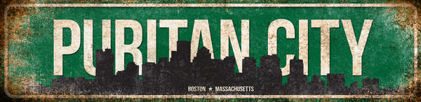 "Puritan City //  Boston, Massachusetts // 1 Aluminum Sign // Indoor or Outdoor // 12"" x 16"""