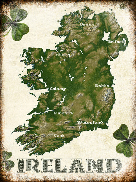 "Ireland // 1 Aluminum Sign // Indoor or Outdoor // 12"" x 16"""