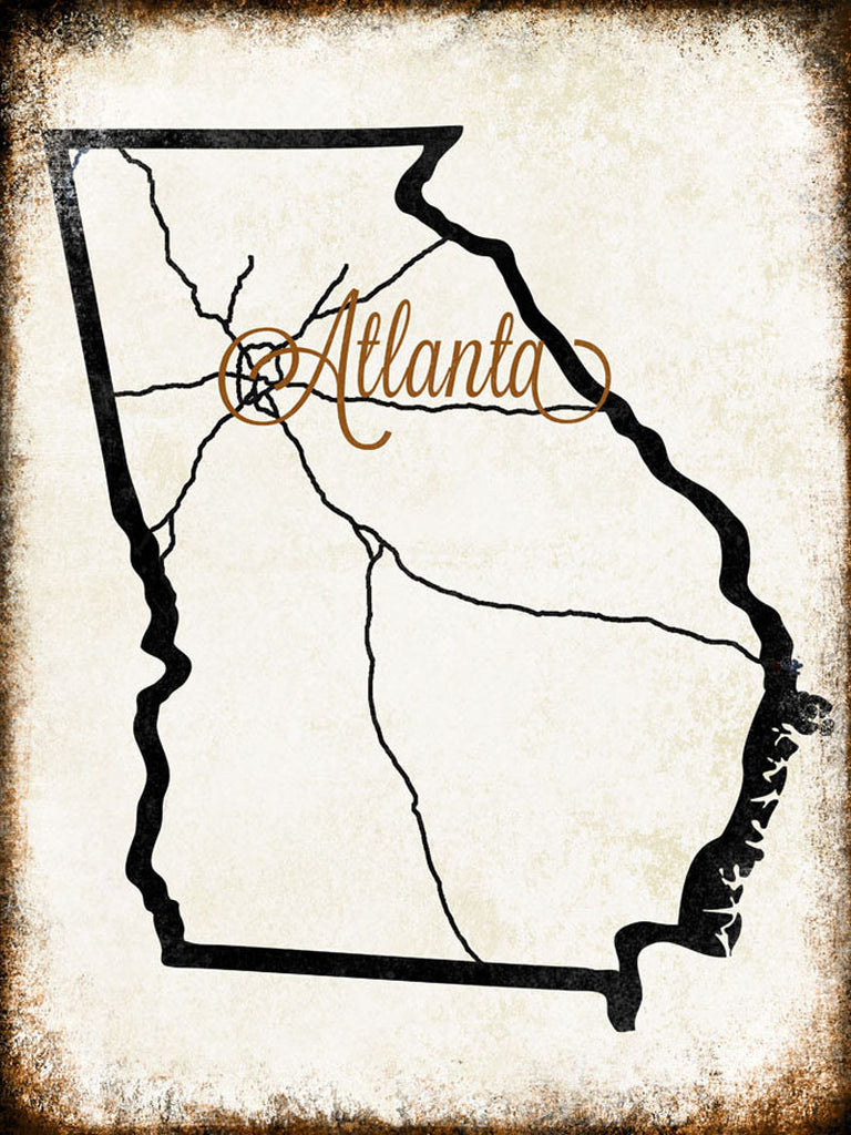 "Atlanta, Georgia  // 1 Aluminum Sign // Indoor or Outdoor // 12"" x 16"""