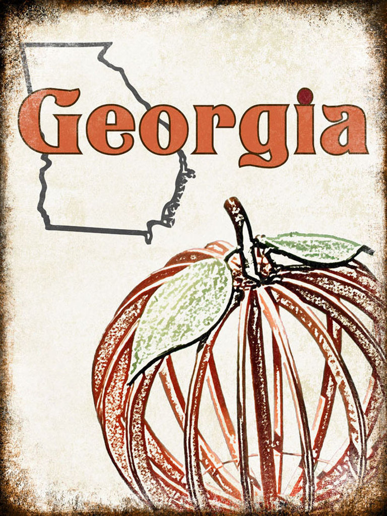 "Georgia Peach // 1 Aluminum Sign // Indoor or Outdoor // 12"" x 16"""
