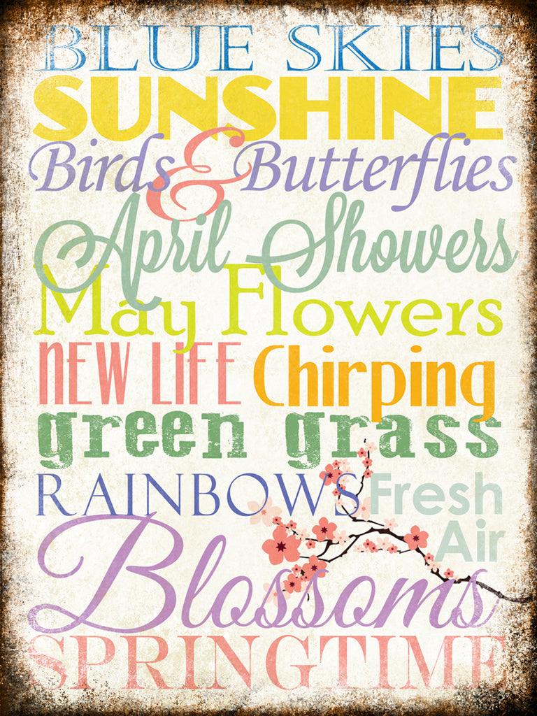"Spring Word Art // 1 Aluminum Sign // Indoor or Outdoor // 12"" x 16"""