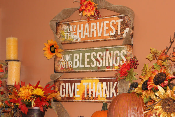 "Give Thanks // 1 Aluminum Sign // Indoor or Outdoor // 5.5"" x 22"""