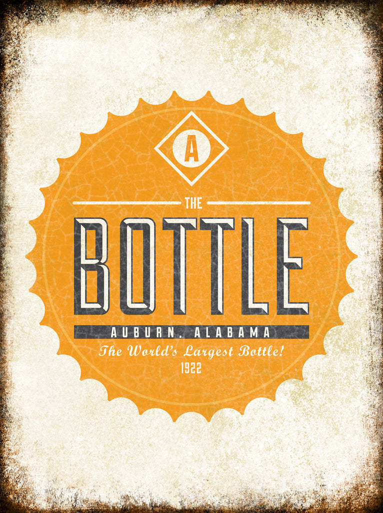"The Bottle 1922 // Auburn, Alabama // 1 Aluminum Sign // Indoor or Outdoor // 12"" x 16"""
