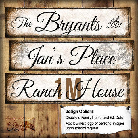 "Custom Script Sign // 1 Aluminum Sign // Indoor or Outdoor // 5.5"" x 22"""