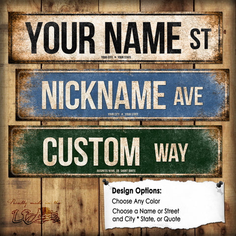 "Custom Street Sign // 1 Aluminum Sign // Indoor or Outdoor // 5.5"" x 22"""