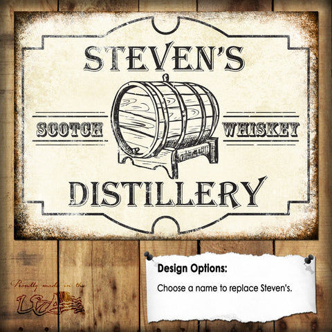 "Custom Distillery // 1 Aluminum Sign // Indoor or Outdoor // 12"" x 16"""