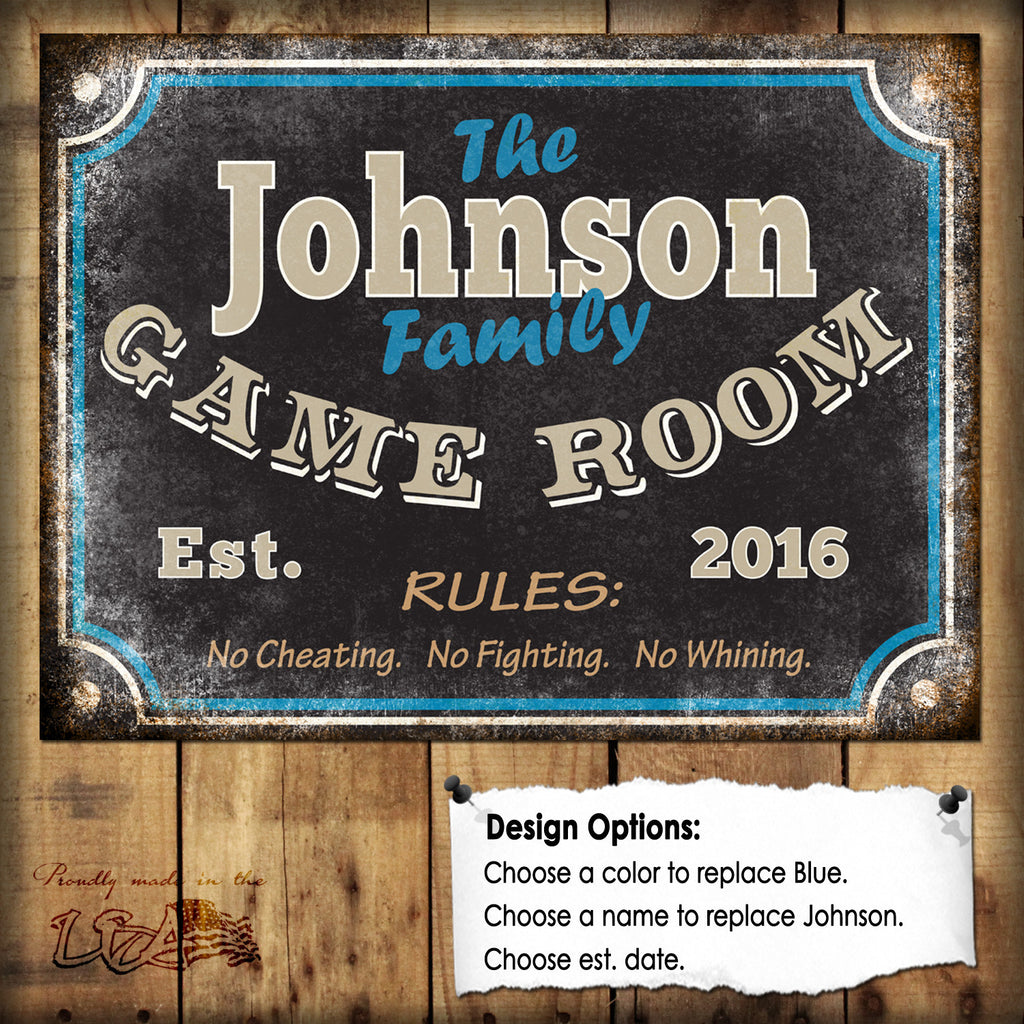 "Custom Family Game Room Sign // 1 Aluminum Sign // Indoor or Outdoor // 12"" x 16"""