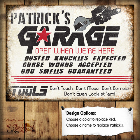 "Custom Garage Sign // 1 Aluminum Sign // Indoor or Outdoor // 12"" x 16"""