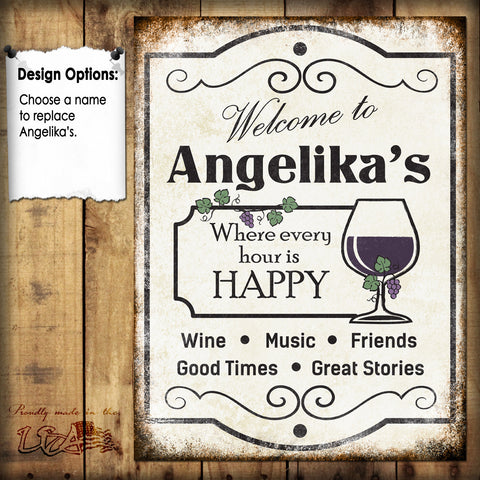 "Custom Wine Sign // 1 Aluminum Sign // Indoor or Outdoor // 12"" x 16"""