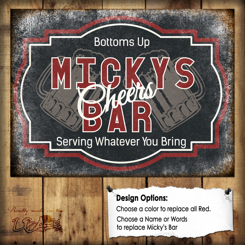 "Custom Cheers Bar Sign // 1 Aluminum Sign // Indoor or Outdoor // 12"" x 16"""