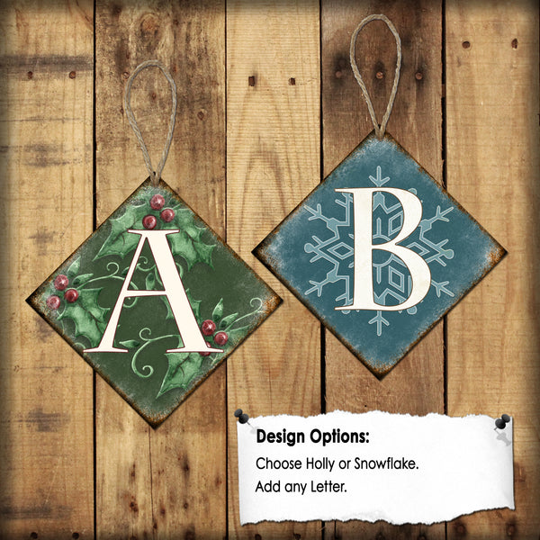 "Letter Christmas Tree Ornaments // 1 Aluminum Sign // Indoor or Outdoor // 4"" x 4"""