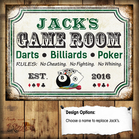 "Custom Game Room Sign // Darts Billiards Poker // 1 Aluminum Sign // Indoor or Outdoor // 12"" x 16"""