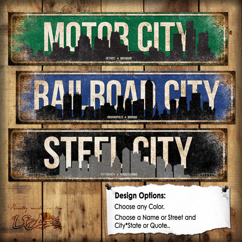 "Custom City Skyline Sign // 1 Aluminum Sign // Indoor or Outdoor // 5.5"" x 22"""