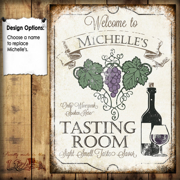 "Custom Wine Tasting Sign // 1 Aluminum Sign // Indoor or Outdoor // 12"" x 16"""