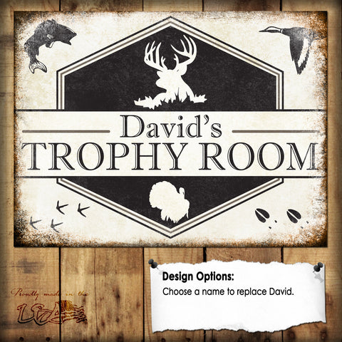"Custom Wildlife Trophy Room  // 1 Aluminum Sign // Indoor or Outdoor // 12"" x 16"""