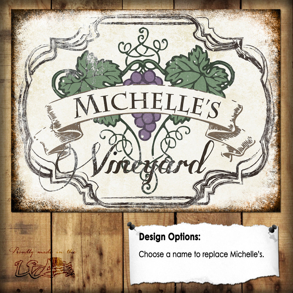 "Custom Vineyard Sign // 1 Aluminum Sign // Indoor or Outdoor // 12"" x 16"""