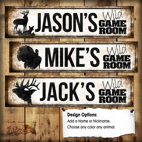 "Custom Wild Game Room  // 1 Aluminum Sign // Indoor or Outdoor // 12"" x 16"""